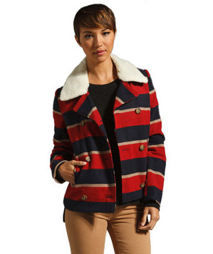 BB Dakota Country Stripe Poly Plush Coat