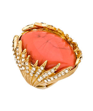 Blu Bijoux Coral Austrian Crystal Gold Cocktail Ring