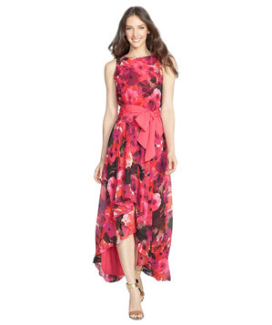 Eliza J Print High/Low Chiffon Dress