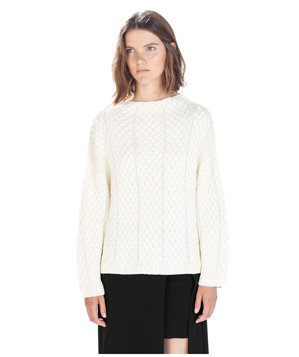 Zara Funnel Neck Cable Knit Sweater
