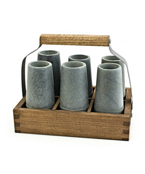 Reclaimed Wood Caddy with Vodka Shooters