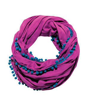 Pink-and-Navy Pom-Pom Scarf