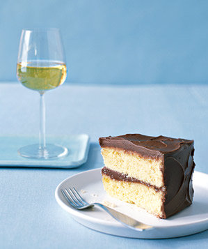 Piece of cake and a glass of wine