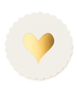 Gold Heart Scallop Coasters