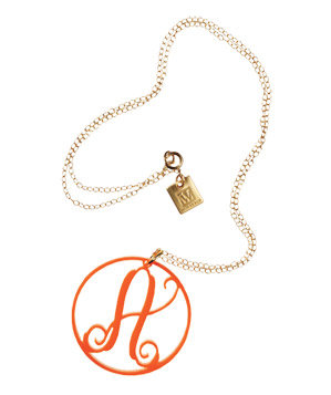 Charm Oval Acrylic Initial Necklace