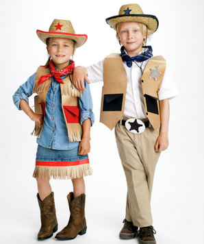 Cowgirl and Sheriff costumes