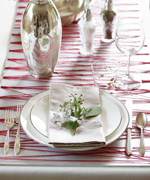String and poster board holiday table runner