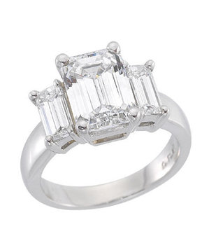 Dana Rebecca Designs Three Stone Emerald Cut Engagement Ring