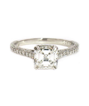 Irina Ferry Platinum Asscher Cut Solitaire Diamond Engagement Ring