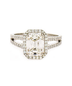 Irina Ferry Platinum Emerald Cut Diamond Engagement Ring