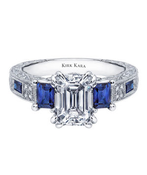 Kirk Kara Charlotte Collection Emerald Cut Engagement Ring