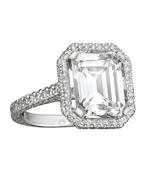 Mimi So Emerald Cut Diamond Engagement Ring