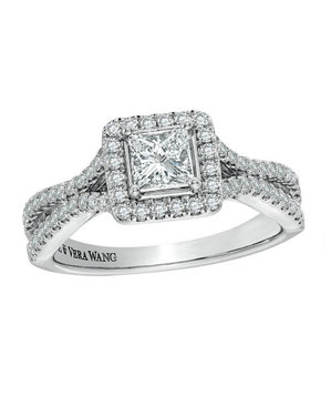 Vera Wang LOVE Collection Princess-Cut Double Frame Engagement Ring