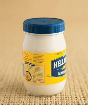 Jar of Hellman's mayonnaise on rug
