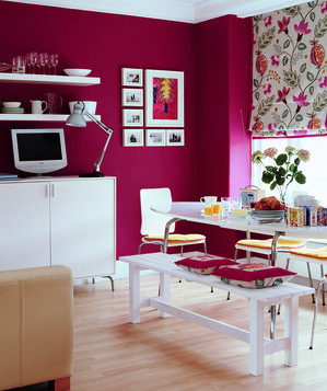 Magenta dining room with white furniture