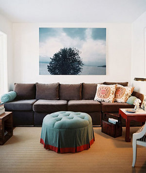 Large Sofa And Round Ottoman