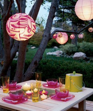 Pink lanterns in an evening garden dinner