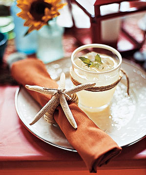 Starfish napkin ring with a margarita