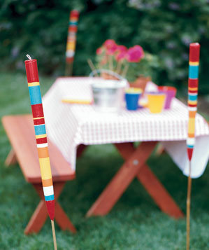 Striped candle torches