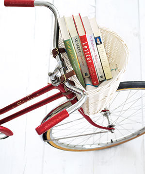 Books in a bicycle basket