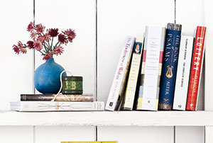 Books on a shelf