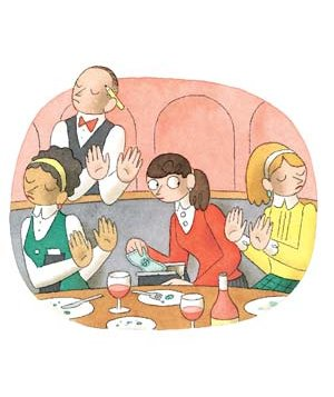 Illustration of women in a restaurant