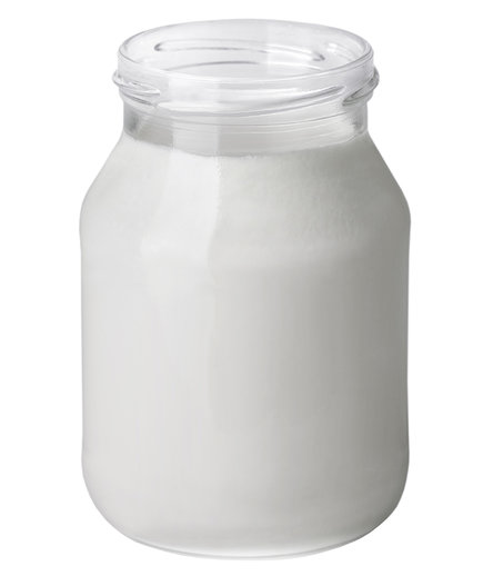 Yogurt in a glass jar