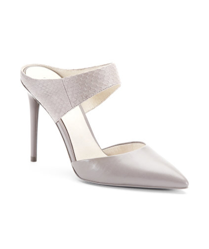 Kenneth Cole Wendy Leather and Snakeskin Open-Back Pump