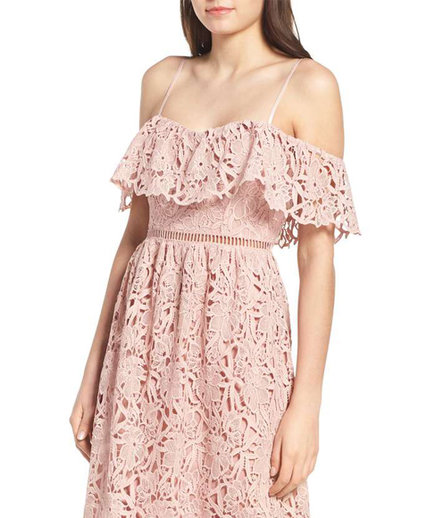 Astr The Label Lace Off Shoulder Midi Dress