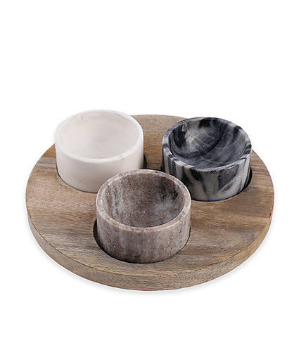 4-Piece Marble and Wood Pinch Bowl Set