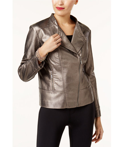 Alfani Metallic Faux Leather Jacket