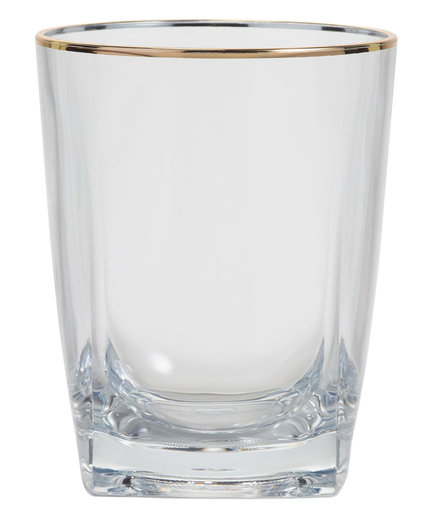 World Market Metallic Gold Rim Acrylic DOF Glasses Set of 4