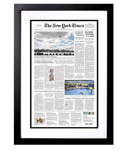 Front Page New York Times Reprint