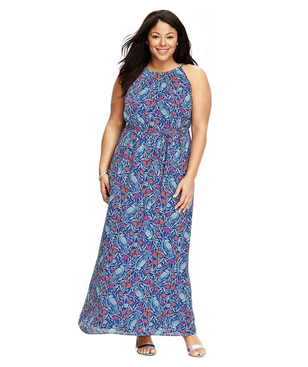 Old Navy Suspended-Neck Chiffon Maxi Blue Combo