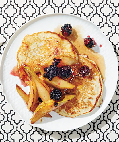 Buttermilk Pancakes With Pan-Roasted Pears and Blackberries