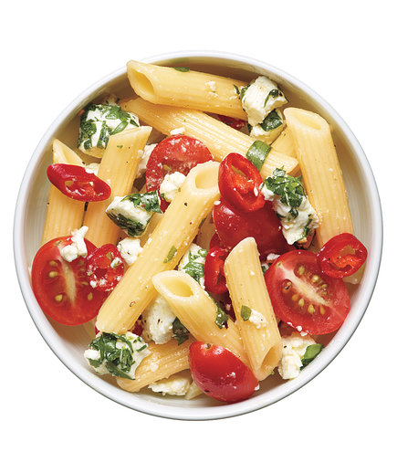 Pasta Salad With Tomatoes, Goat Cheese, and Chilies (Easy Pasta Salad)