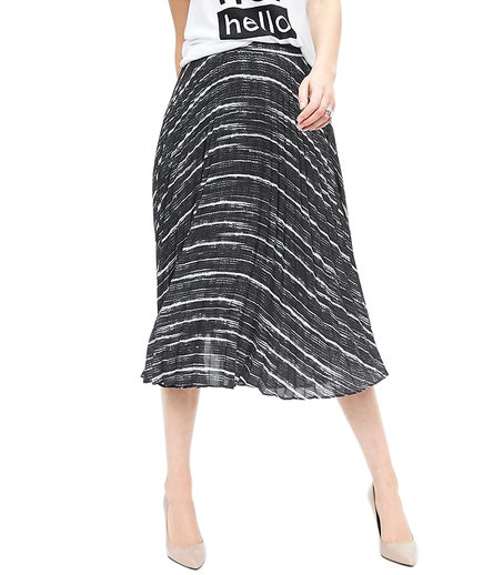 Banana Republic Pleated Print Midi Skirt