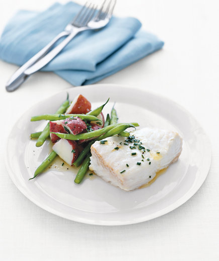 Poached Halibut With Green Beans and Red Potatoes