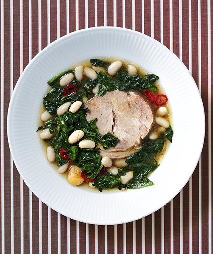 Slow-Cooker Pork Roast with Beans and Spinach (10 Hacks to Free Up Oven Space for Christmas Dinner)