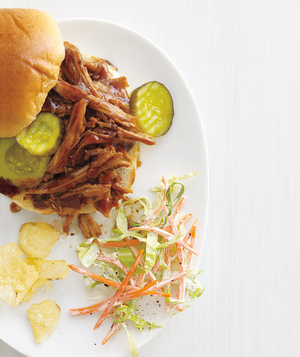 Slow-Cooker Barbecue Pork Sandwiches With Crunchy Coleslaw