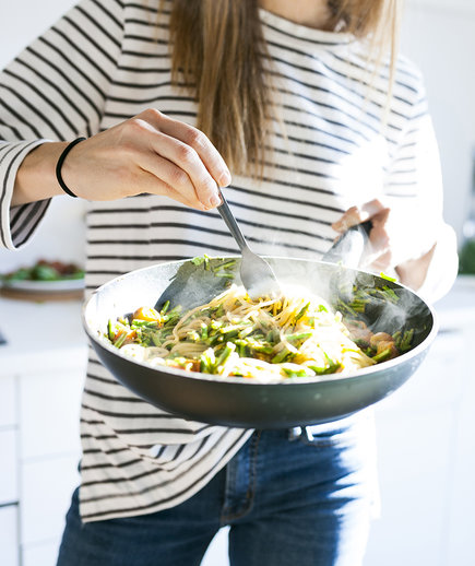 Real Simple Cooking School: Woman Twirling Pasta