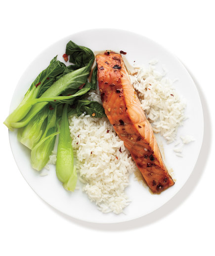 Spicy Salmon With Bok Choy and Rice