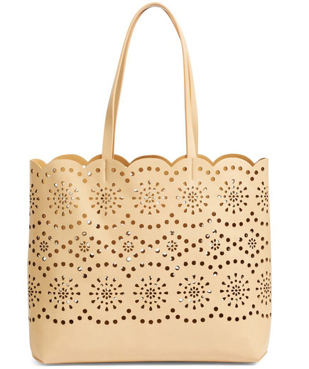 Lily Scallop Faux Leather Tote