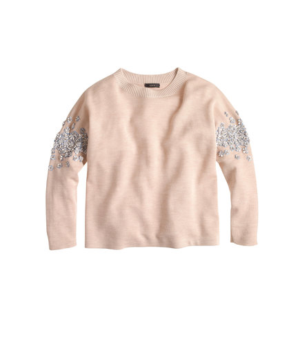 J.Crew Sequin Floral Sweater Heather Oatmeal