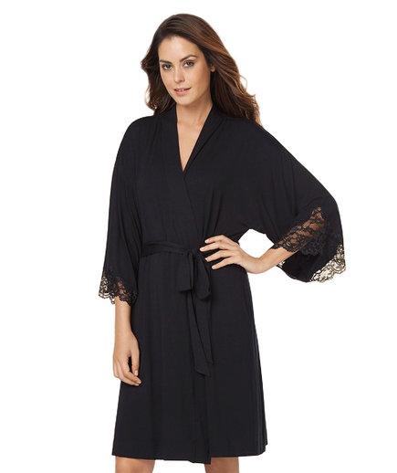 Soma Eternal Lace Short Robe Black