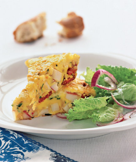 18 easy high protein recipes real simple spanish omelet with potatoes and chorizo forumfinder Image collections