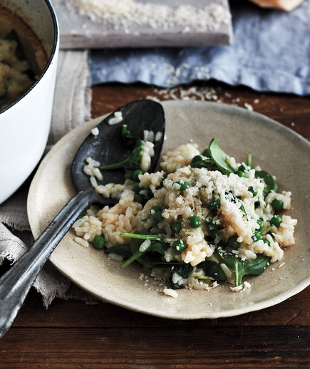 Baked Spinach and Pea Risotto