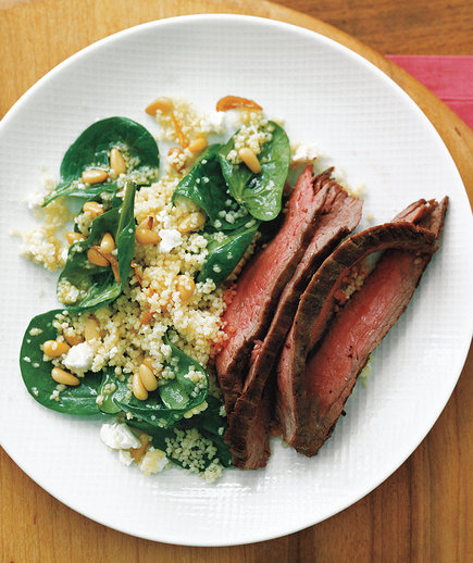 Steak With Spinach Couscous (Farmer's Market Finds: June 21st)
