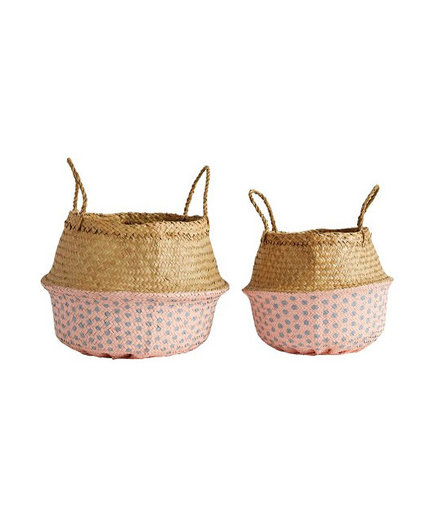 Round Palm Leaf Collapsible Basket