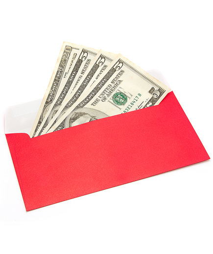 Tip money in red envelope